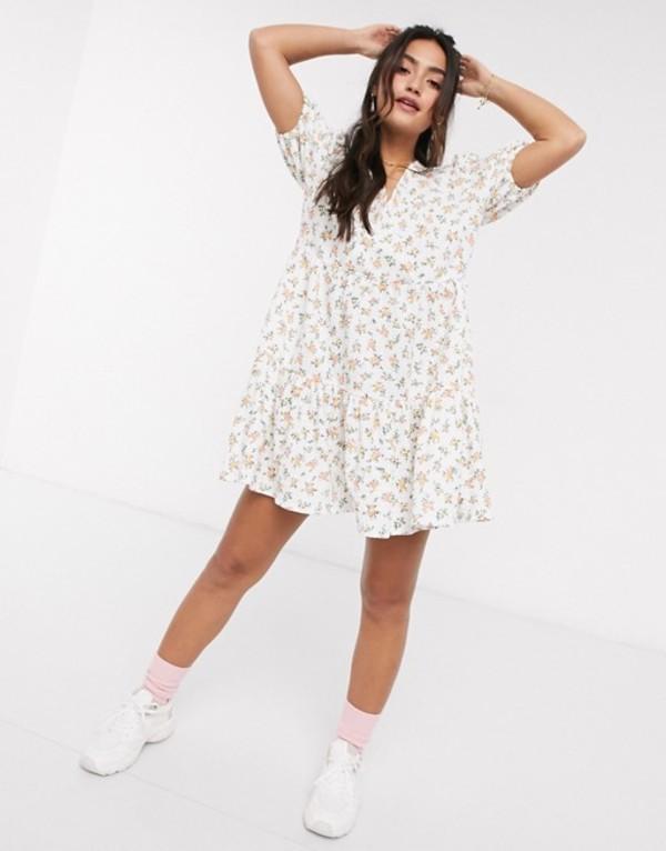 エイソス レディース ワンピース トップス ASOS DESIGN mini smock dress with v neck in floral print Floral print