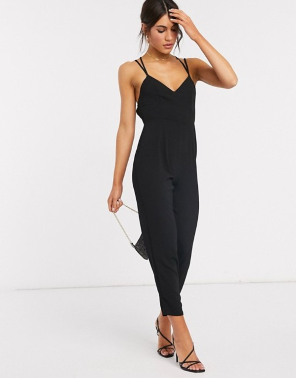 エイソス レディース ワンピース トップス ASOS DESIGN cami strap cross back detail jumpsuit in black Black