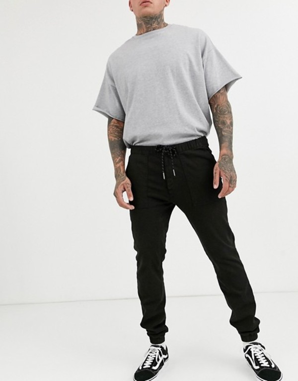 トップマン メンズ カジュアルパンツ ボトムス Topman skinny sweatpants in black Black