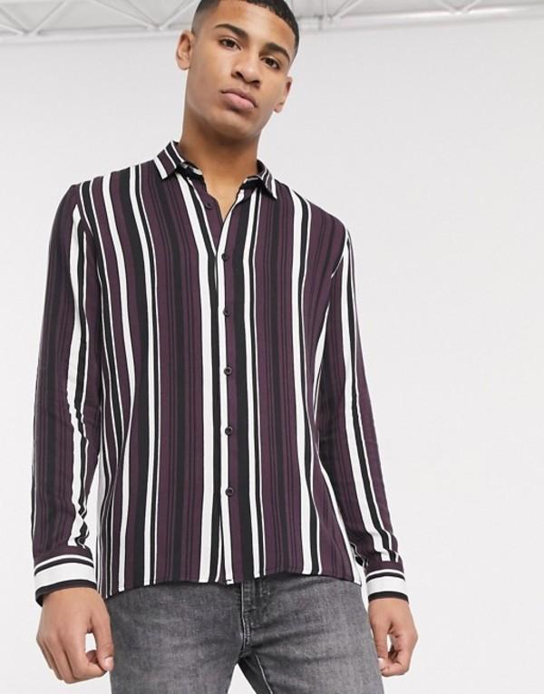 トップマン メンズ シャツ トップス Topman long sleeve shirt with stripe burgundy & black stripe Red