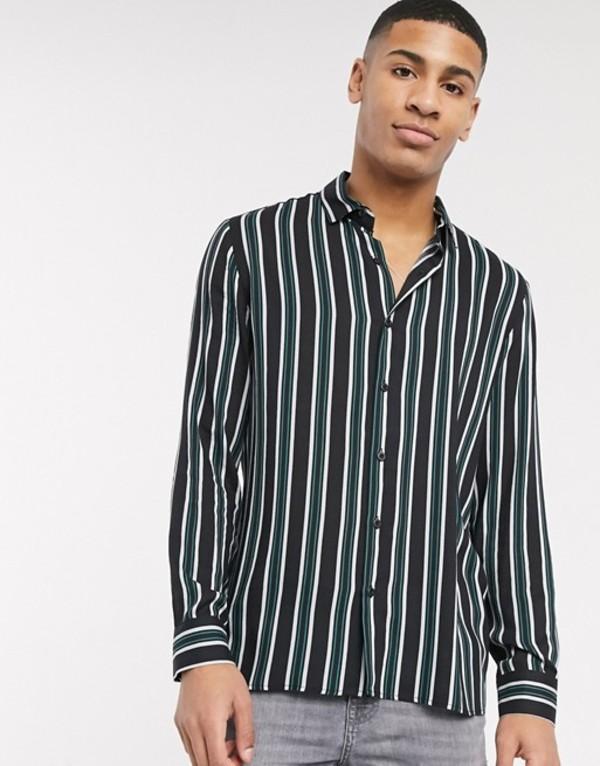 トップマン メンズ シャツ トップス Topman long sleeve shirt with stripe in black & khaki Black