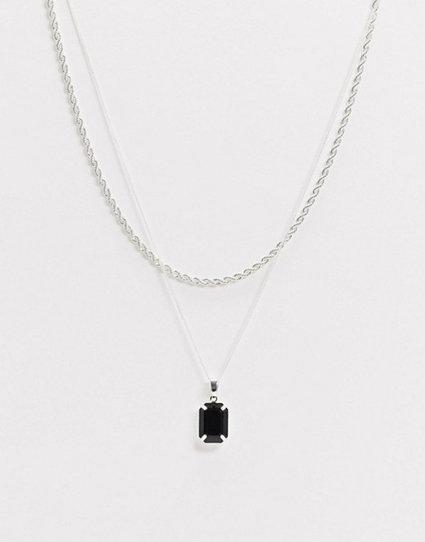 チェーンドアンドエブル メンズ ネックレス・チョーカー アクセサリー Chained & Able black stone pendant layered necklace in silver Silver