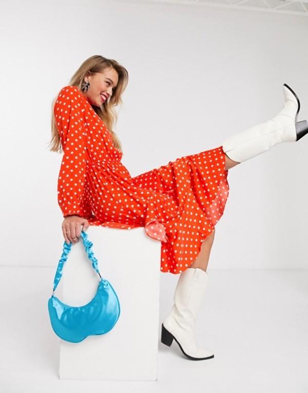 エッセンシャルアントワープ レディース ワンピース トップス Essentiel Antwerp Vazongas asymmetric polkadot midi dress in berry red Berry red