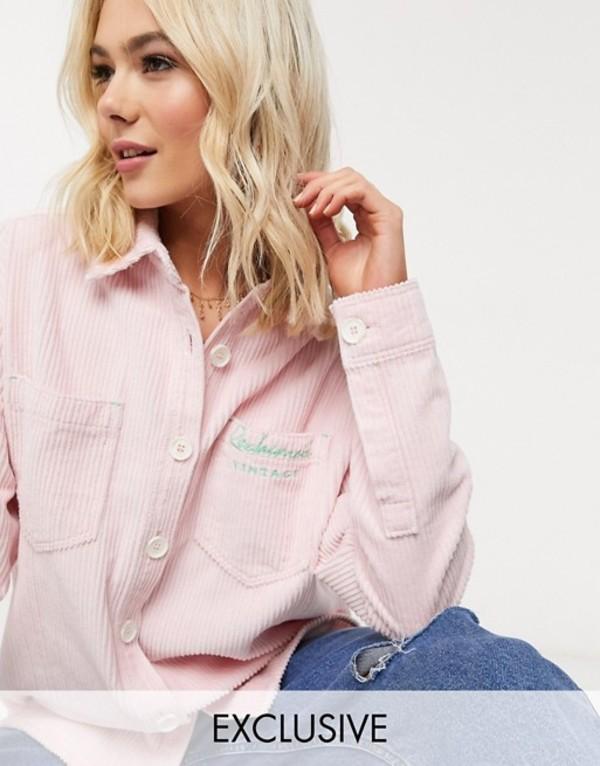 リクレイム ヴィンテージ レディース シャツ トップス Reclaimed Vintage inspired oversized shirt in pink cord with logo embroidery Pink