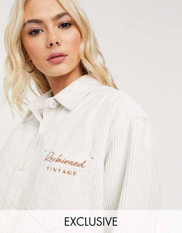 リクレイム ヴィンテージ レディース シャツ トップス Reclaimed Vintage inspired oversized shirt in ecru cord with logo embroidery Ecru