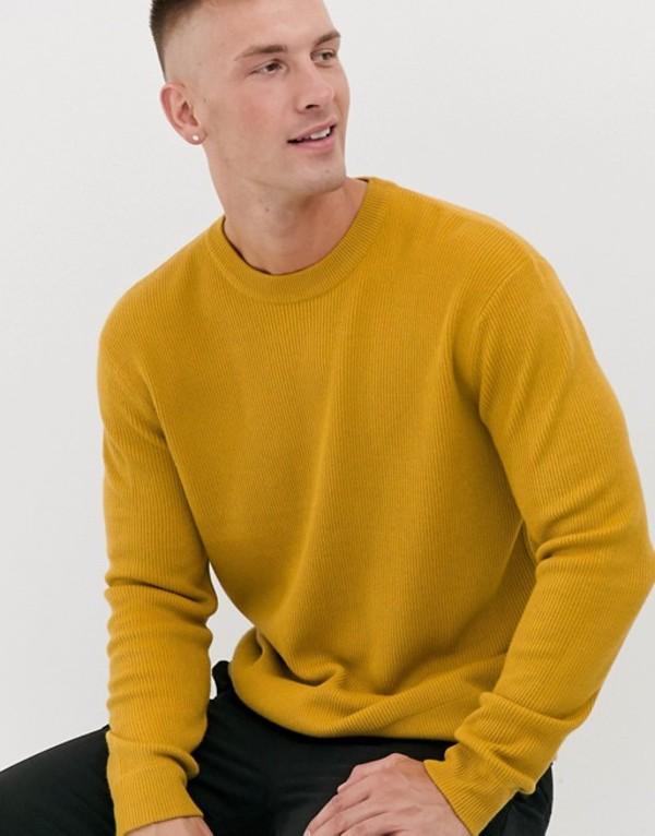 トップマン メンズ ニット・セーター アウター Topman textured sweater in mustard Mustard