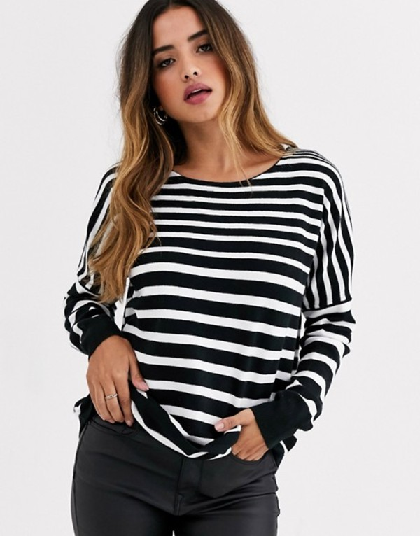 フレンチコネクション レディース ニット・セーター アウター French Connection stripe boatneck sweater Black/winter white