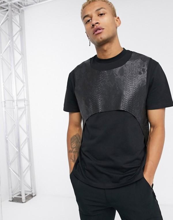 エイソス メンズ シャツ トップス ASOS DESIGN festival relaxed t-shirt with faux animal mock harness in black Black