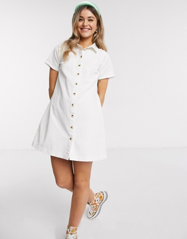 エイソス レディース ワンピース トップス ASOS DESIGN soft denim smock shirt dress in white White