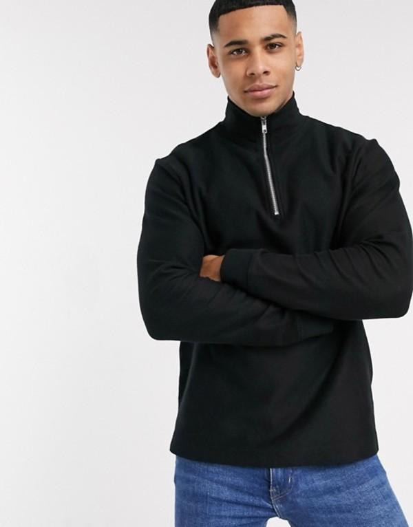 トップマン メンズ ニット・セーター アウター Topman twill half zip sweat in black Black