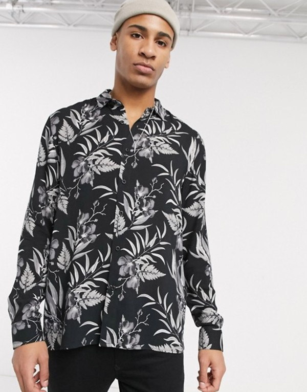 トップマン メンズ シャツ トップス Topman long sleeve shirt with floral print in black Black