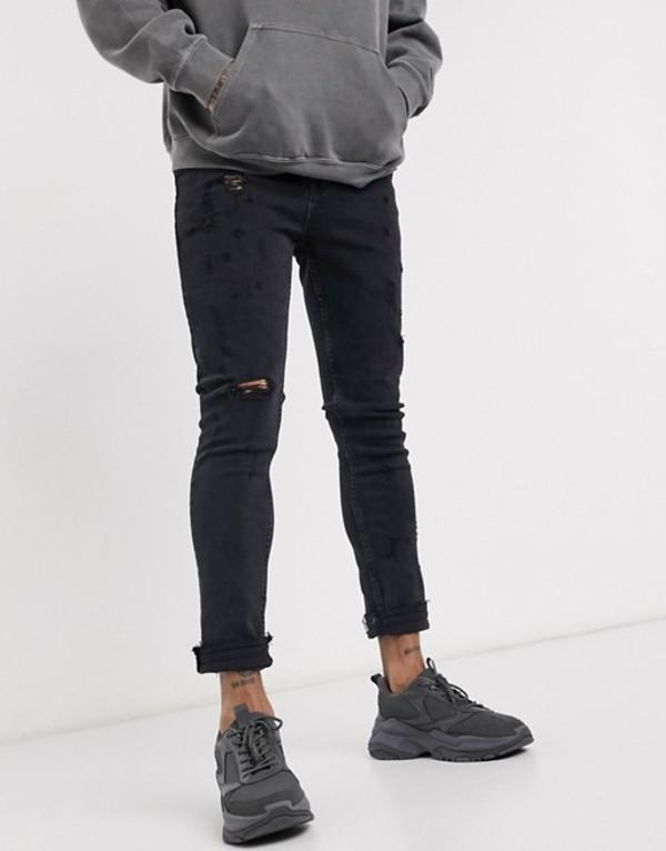 エイソス メンズ デニムパンツ ボトムス ASOS DESIGN super skinny jeans in washed black with mid rips Washed black