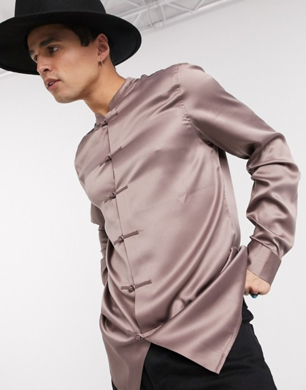 エイソス メンズ シャツ トップス ASOS DESIGN regular fit satin mandarin collar shirt with knot front detail Mauve