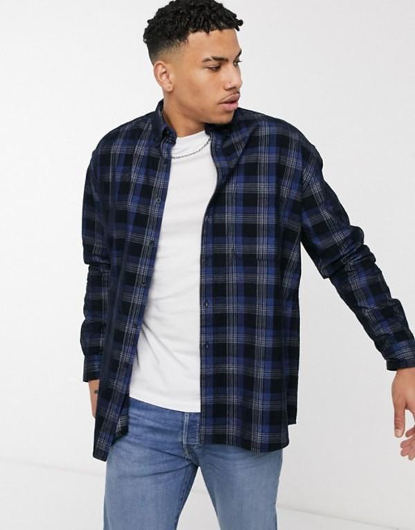 エイソス メンズ シャツ トップス ASOS DESIGN 90s oversized shirt in navy printed cord check Navy