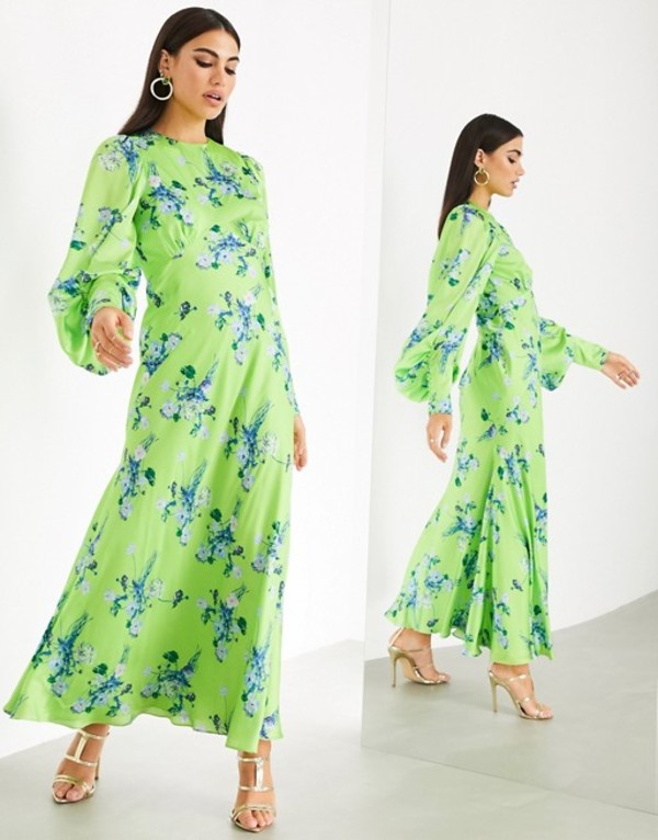 エイソス レディース ワンピース トップス ASOS EDITION satin wild flower print maxi dress Multi