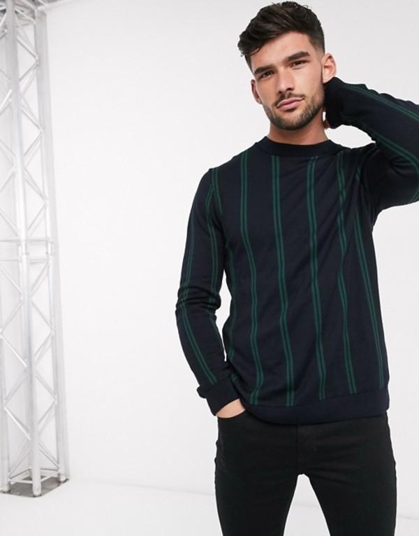 トップマン メンズ ニット・セーター アウター Topman knitted sweater with green vertical stripe Green