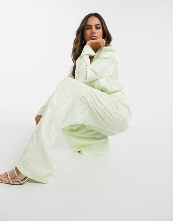 エイソス レディース ジャケット・ブルゾン アウター ASOS DESIGN cropped wrap soft jacquard suit blazer Pastel lime