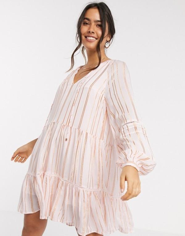リバーアイランド レディース ワンピース トップス River Island metallic thread stripe smock mini dress in pink Pink