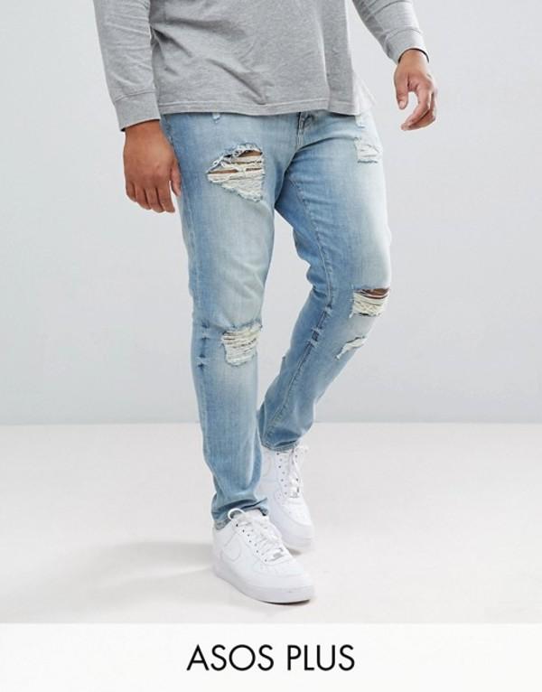 エイソス メンズ デニムパンツ ボトムス ASOS DESIGN Plus skinny jeans in light wash with heavy rips Light wash vintage