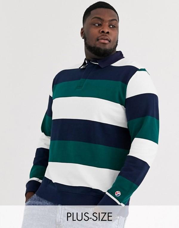 トップマン メンズ シャツ トップス Topman Big & Tall rugby in teal stripe Blue