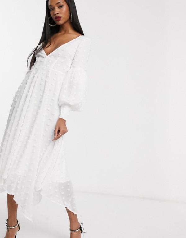 エイソス レディース ワンピース トップス ASOS EDITION volume sleeve midi dress in textured spot Cream