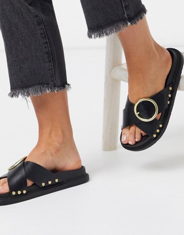 トリュフコレクション レディース サンダル シューズ Truffle Collection buckle flat sandals in black Black/gold