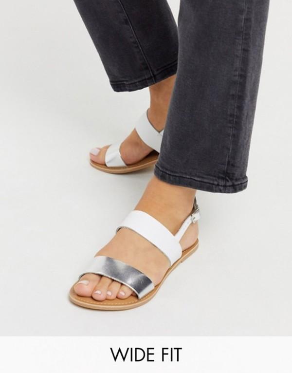 ルールロンドン レディース サンダル シューズ Rule London wide fit leather flat sandals in white/silver White/silver
