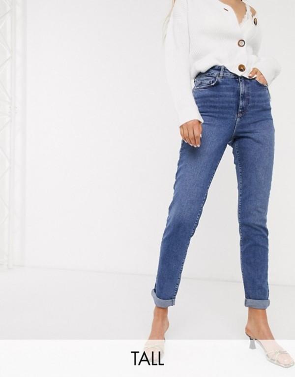 ニュールック レディース デニムパンツ ボトムス New Look Tall waist enhance mom jeans in mid blue Mid blue