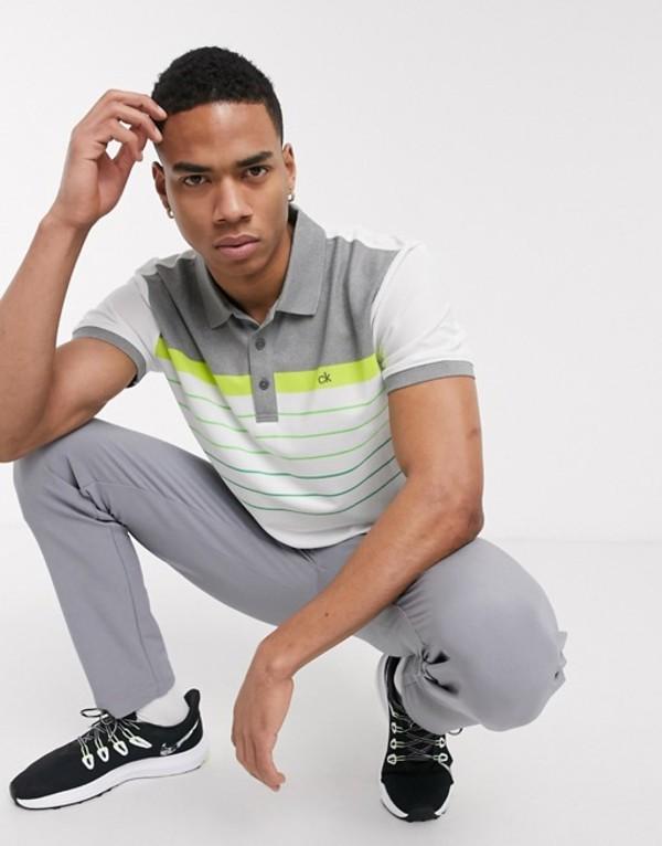 カルバンクラインゴルフ メンズ シャツ トップス Calvin Klein Golf Flint polo shirt in white with green stripes White