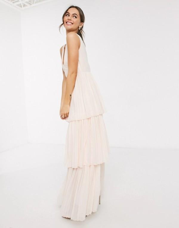 リトルミストレス レディース ワンピース トップス Little Mistress tiered maxi dress in blush Blush
