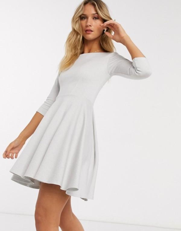 クローゼットロンドン レディース ワンピース トップス Closet London mini skater dress with 3/4 sleeve in white stripe White