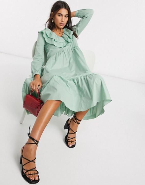 ウエアハウス レディース ワンピース トップス Warehouse ruffle front tiered midi dress in sage green Green