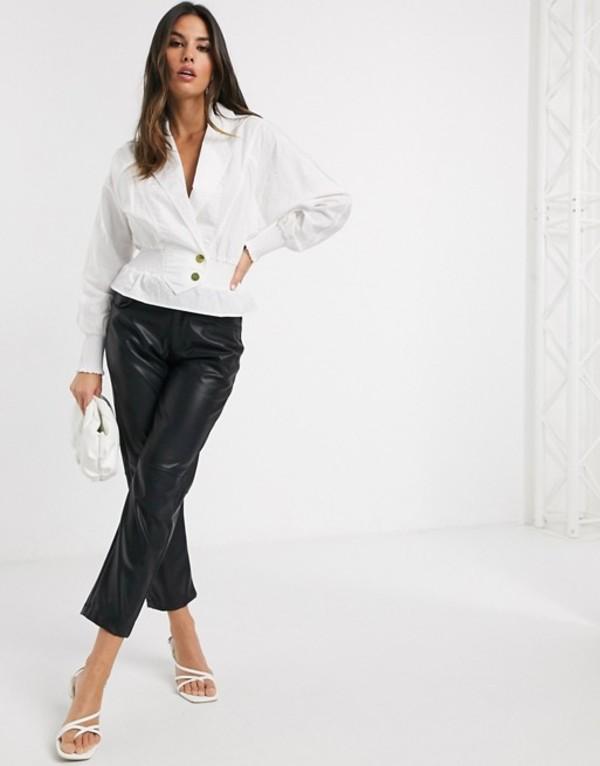リバーアイランド レディース シャツ トップス River Island shirred waisted blouse in white White