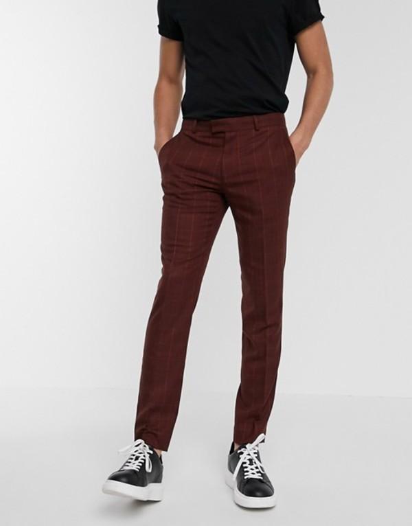トップマン メンズ カジュアルパンツ ボトムス Topman skinny smart pants in red check Red
