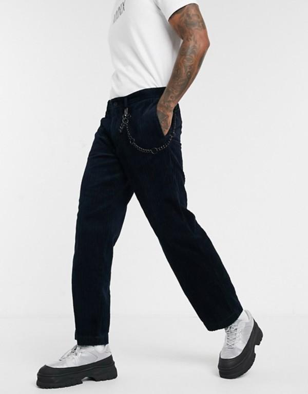 トップマン メンズ カジュアルパンツ ボトムス Topman wide leg cord pants in navy Navy