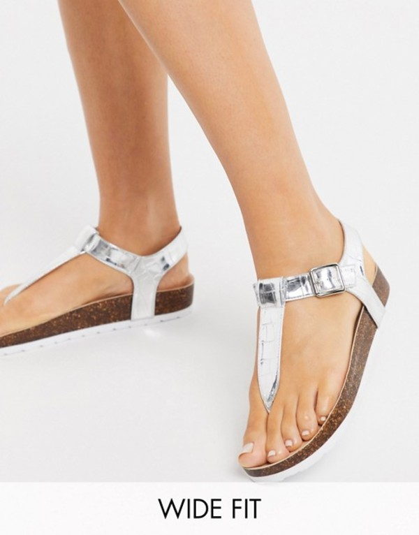 ロンドンレベル レディース サンダル シューズ London Rebel wide fit t bar flat sandals in silver Silver metallic croc