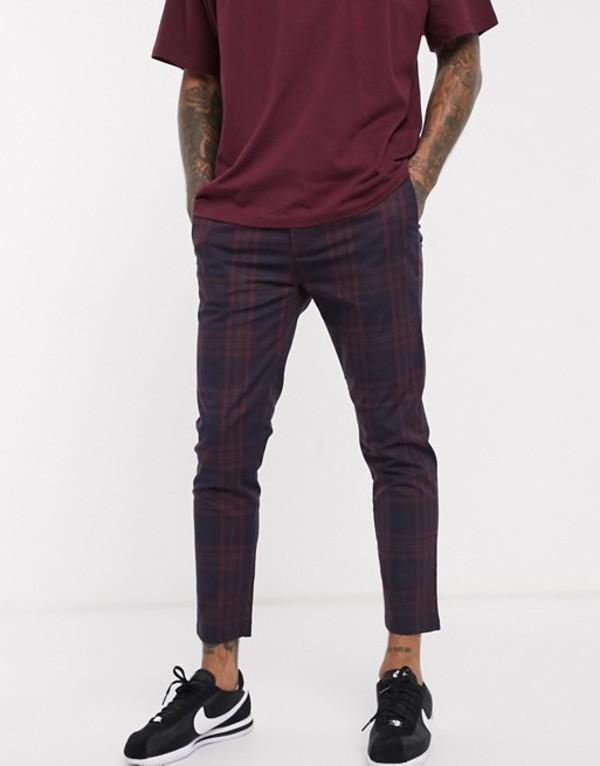 トップマン メンズ カジュアルパンツ ボトムス Topman pants in navy & burgundy check Multi