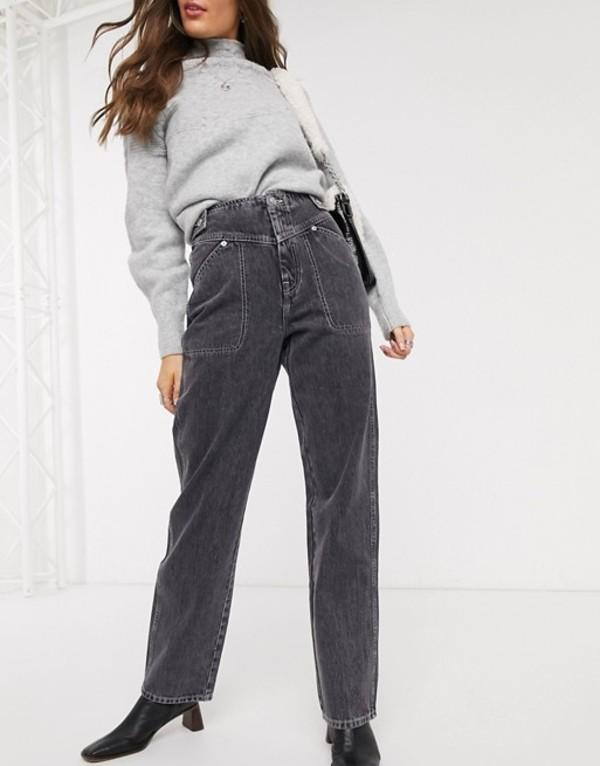 トップショップ レディース デニムパンツ ボトムス Topshop wide leg jeans in washed black Washed black