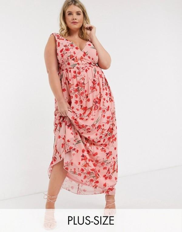 リトルミストレス レディース ワンピース トップス Little Mistress Plus plunge maxi dress in poppy print Multi