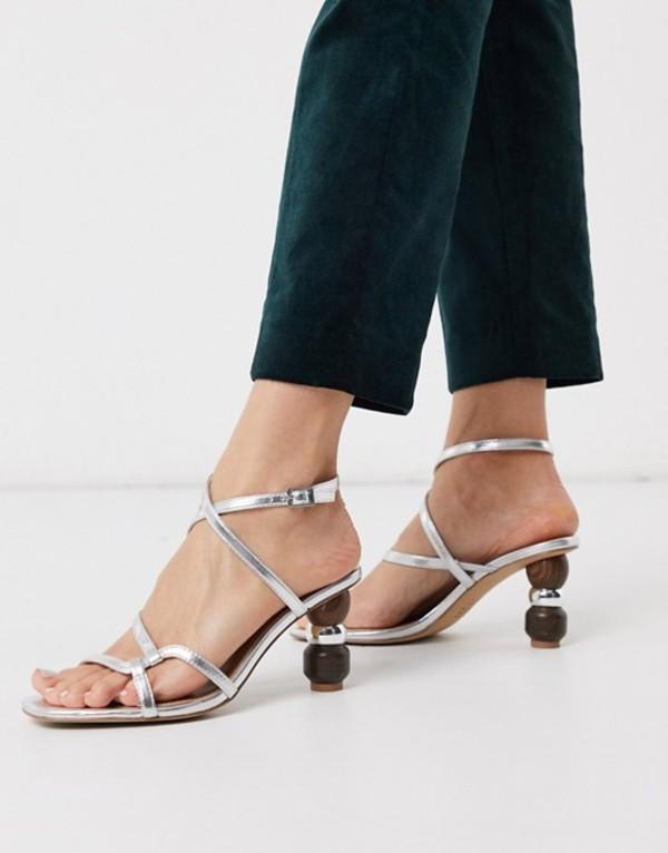 フー ワット ウェアー レディース サンダル シューズ Who What Wear Ryleigh strappy sandals with heel interest in silver Silver
