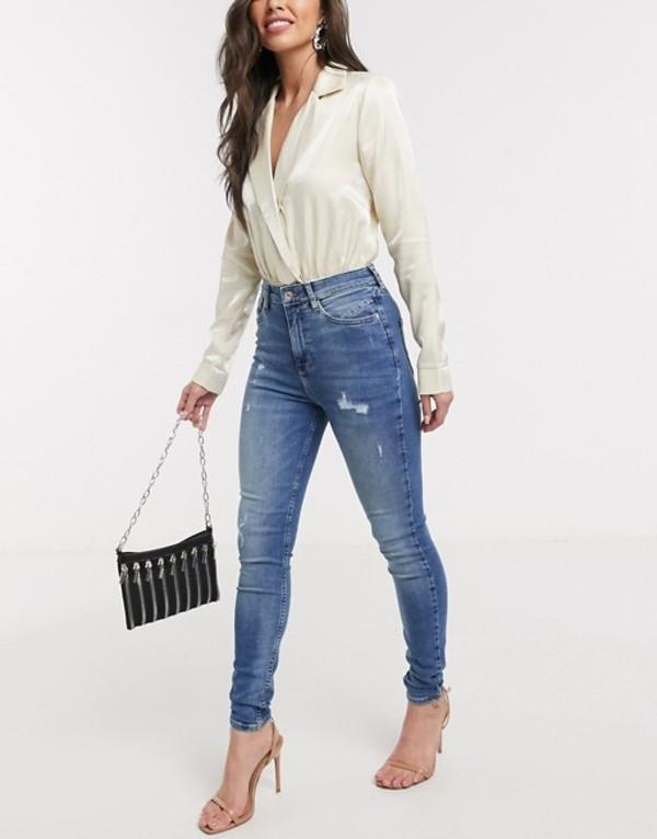 リバーアイランド レディース デニムパンツ ボトムス River Island Hailey mid rise skinny jeans mid auth blue Mid auth