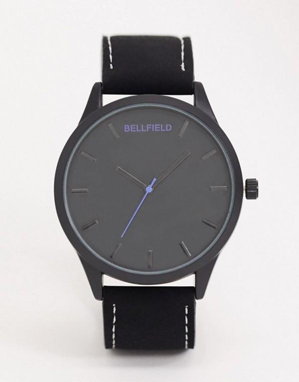 ベルフィールド メンズ 腕時計 アクセサリー Bellfield black watch with black dial Black