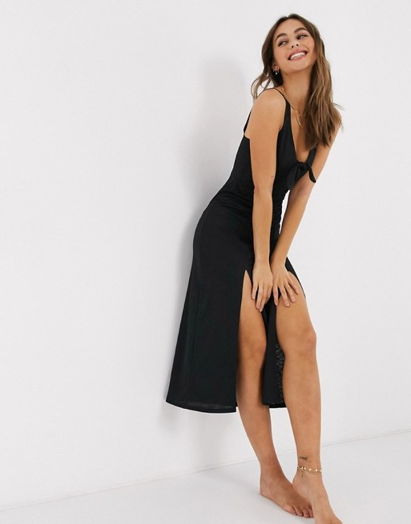 ミスセルフフリッジ レディース ワンピース トップス Miss Selfridge beach dress with knot front in black Black