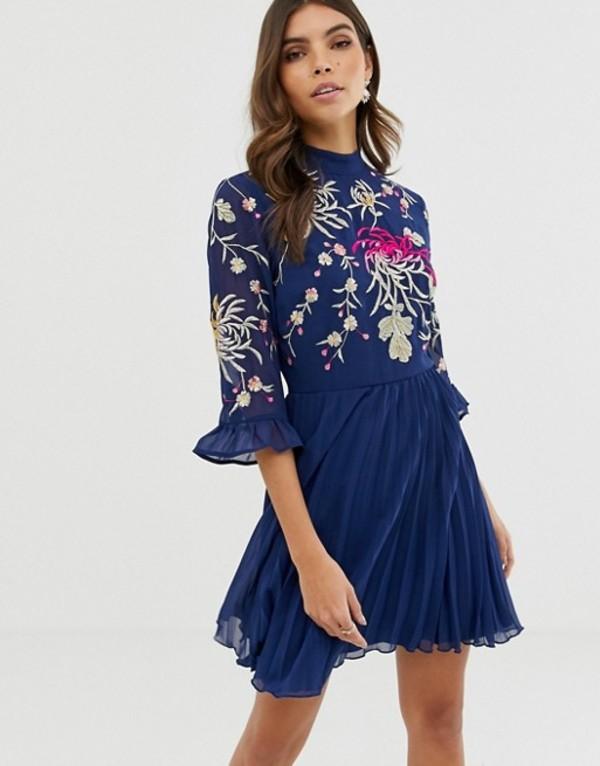 エイソス レディース ワンピース トップス ASOS DESIGN embroidered pleated mini dress with fluted sleeve Navy