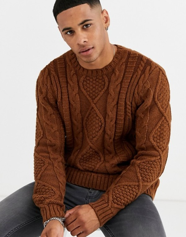 エイソス メンズ ニット・セーター アウター ASOS DESIGN heavyweight cable knit sweater in tan Tan