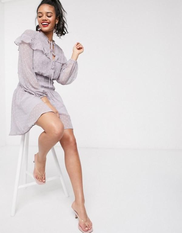 エイソス レディース ワンピース トップス ASOS DESIGN dobby shirred mini skater dress with frills in lilac Lilac