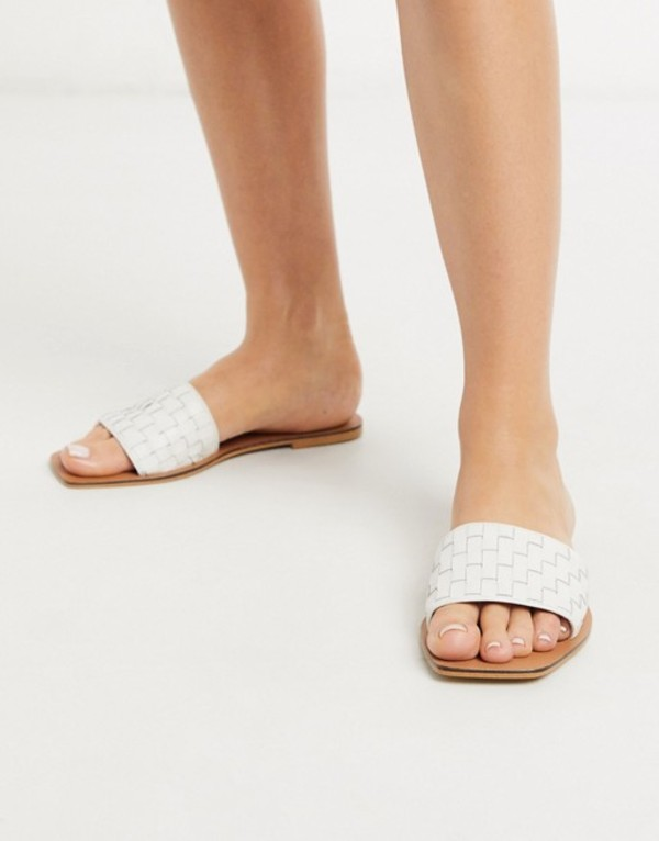 エイソス レディース サンダル シューズ ASOS DESIGN Faultless leather woven mule sandals in white White