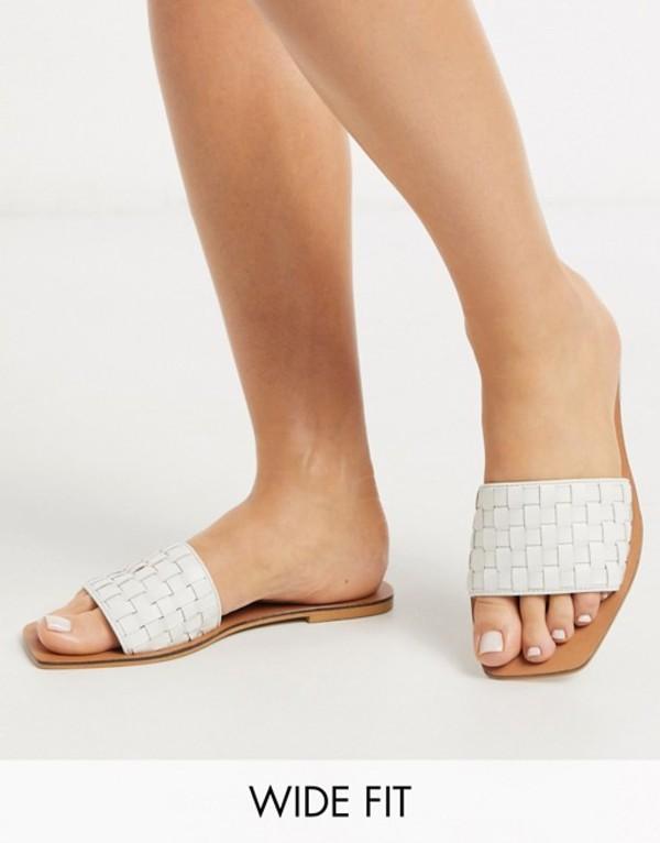 エイソス レディース サンダル シューズ ASOS DESIGN Wide Fit Faultless leather woven mule sandals in white White