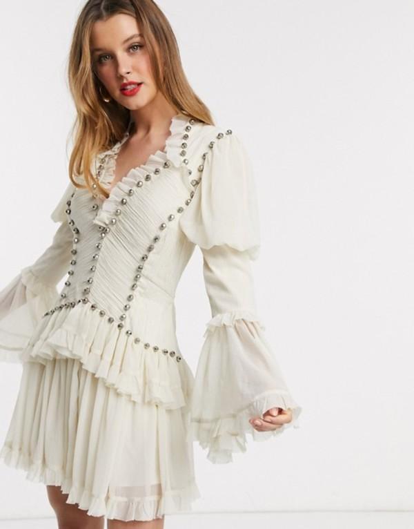 エイソス レディース ワンピース トップス ASOS DESIGN studded chiffon frill mini dress in Cream Cream
