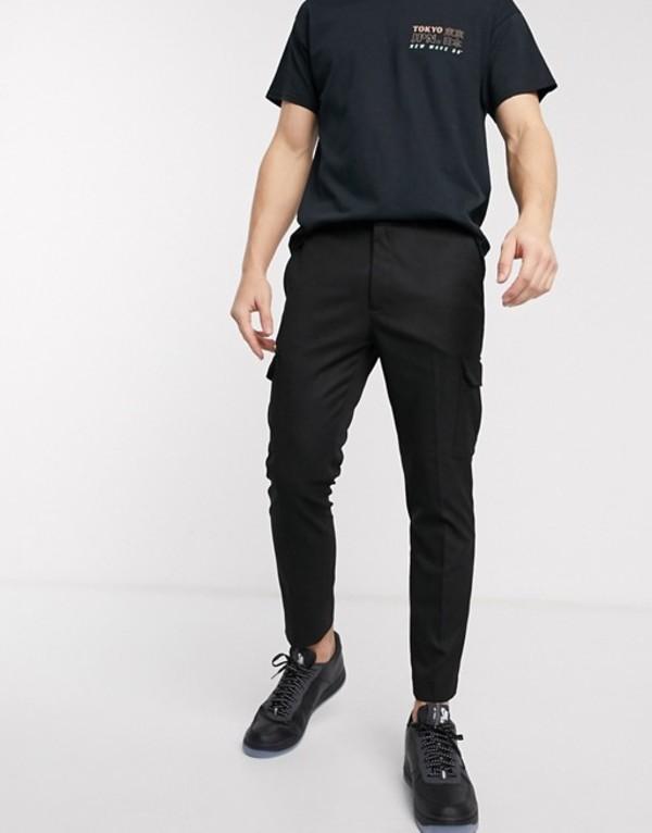 トップマン メンズ カジュアルパンツ ボトムス Topman cargo pants in black Black